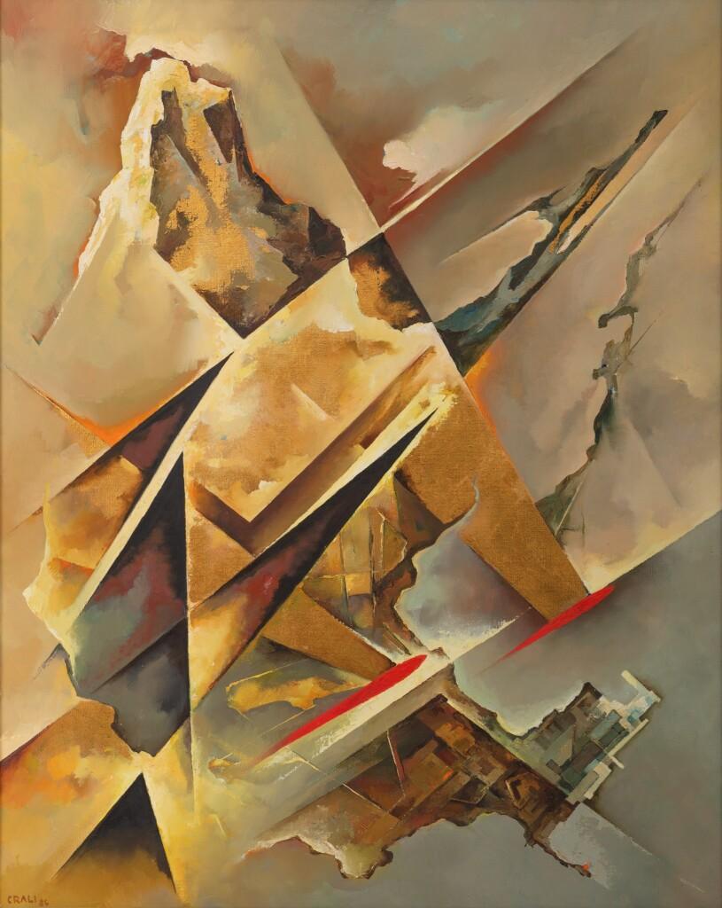 Tullio Crali, Paesaggio supersonico, 1986, olio su tela